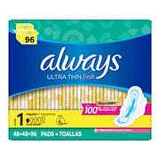 Always Fresh Clean Scent Ultra Thin Regular Pads with Flexi-Wings, 96 ct.