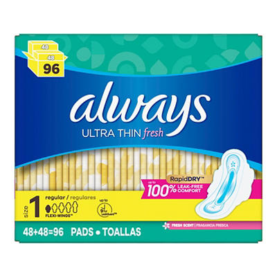 Always Fresh Clean Scent Ultra Thin Regular Pads with Flexi-Wings, 96
