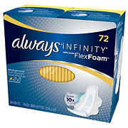 Always Infinity Regular Pads with Wings, 72 ct.