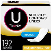 U by Kotex Regular Lightdays Liners, Unscented, 192 ct.