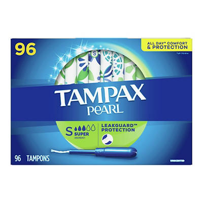 Tampax Pearl Super Unscented Tampons, 96 ct.