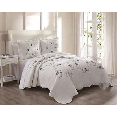 La Brea Queen Size 3-Pc. Microfiber Quilt Set