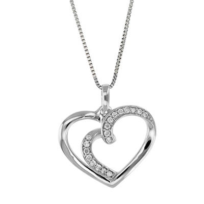 .08 ct. t.w. Diamond Heart Necklace in 14k White Gold