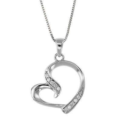 .05 ct. t.w. Diamond Tilted Heart Necklace in 14k White Gold
