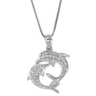 .16 ct. t.w. Diamond Dolphins Necklace in 14k White Gold