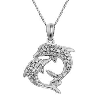 daa64824e86e 16 ct. t.w. Diamond Dolphins Necklace in 14k White Gold - BJs ...