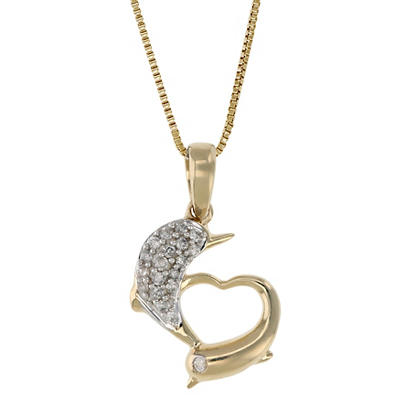 .10 ct. t.w. Diamond Dolphins Necklace in 14k Yellow Gold