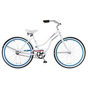 "Titan Docksider Women's 26"" Beach Cruiser Single-Speed Bicycle - White with Blue Wheels"