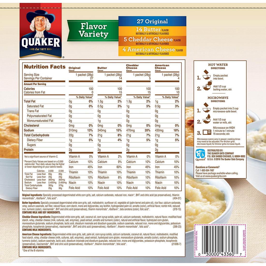 Quaker Instant Grits Flavor Variety