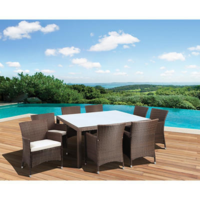 Atlantic Panama Deluxe 9-Pc. Outdoor Dining Set - Brown/Off-White