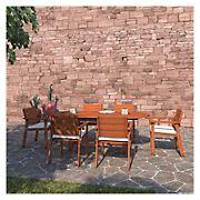 Amazonia Santiago 7-Pc. Eucalyptus Oval Dining Set - Brown/Off-White/Beige