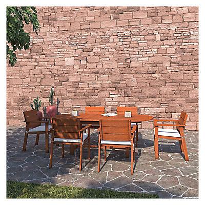 Amazonia Santiago 7-Pc. Eucalyptus Oval Dining Set - Brown/Off-White/B