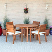 Amazonia Santiago 5-Pc. Eucalyptus Round Dining Set - Brown/Off-White/Beige