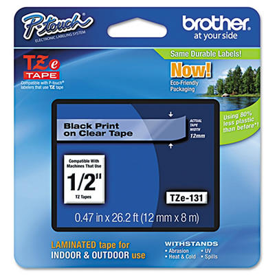 Brother P-Touch TZe Tape for P-Touch Labelers - Black On Clear