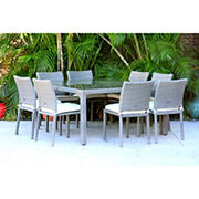 Atlantic Panama 9-Pc. Outdoor Dining Set - Gray/Off-White