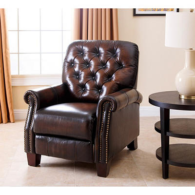 Abbyson Living Westbury Hand-Rubbed Leather Push-Back Recliner - Brown
