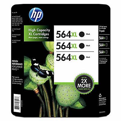 HP 564XL Black Ink Cartridges, 3 pk.