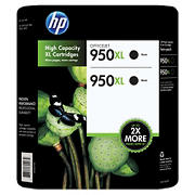 HP 950XL Black Ink Cartridges, 2 pk.