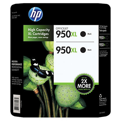 HP 950XL Black Ink Cartridges, 2 pk.