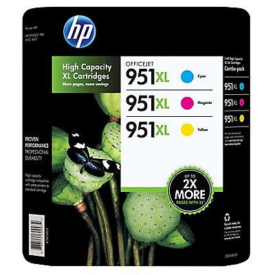 HP 951XL Color Ink Cartridges, 3 pk.