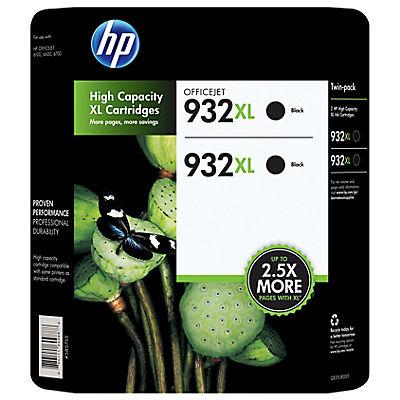 HP 932XL Black Ink Cartridges, 2 pk.