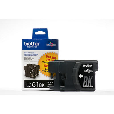 Brother LC61 Black Ink Cartridges, 2 Pack