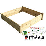 Riverstone Eden 4' x 4' Raised Garden Bed with Bonus Watering Kit - Natural Wood