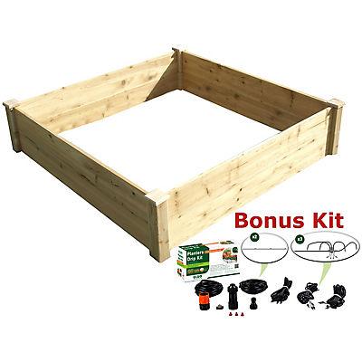 Riverstone Eden 4' x 4' Raised Garden Bed with Bonus Watering Kit - Na