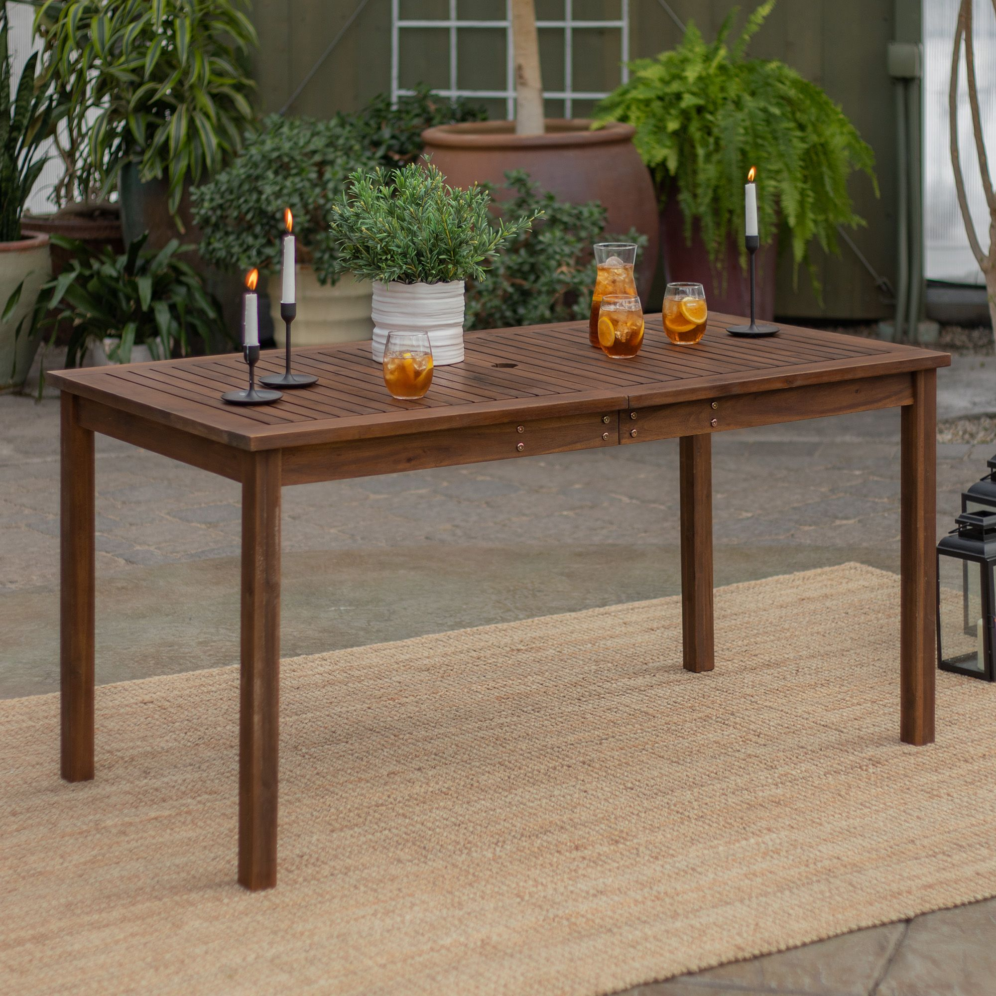 W. Trends Acacia Wood Outdoor Dining Table   Dark Brown