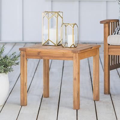 "W. Trends 20"" Acacia Wood Patio Side Table - Brown"