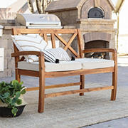 W. Trends Acacia Wood Outdoor Love Seat with Cushions - Brown