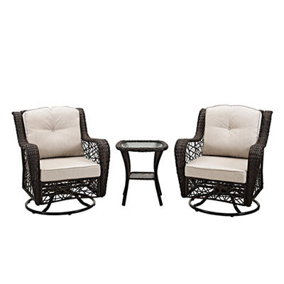 W. Trends 3-Pc. Rattan Motion Chair Set with Cushions - Brown