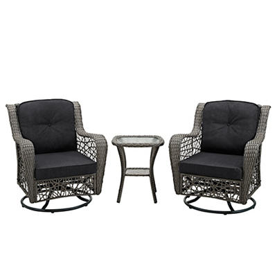 W. Trends 3-Pc. Rattan Motion Chair Set with Cushions - Gray