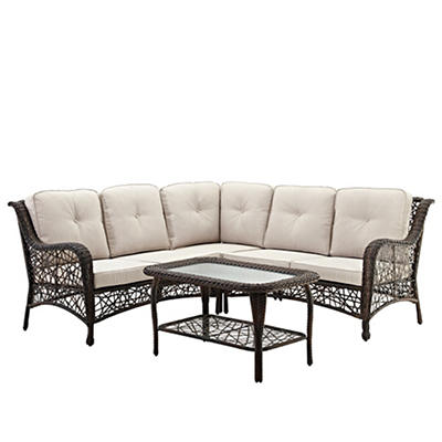 W. Trends 4-Pc. Random Weave Sectional Set with Cushions - Brown