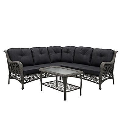 W. Trends 4-Pc. Random Weave Sectional with Cushions - Gray