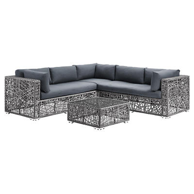 W. Trends Random Weave Box Sectional with Cushions - Gray