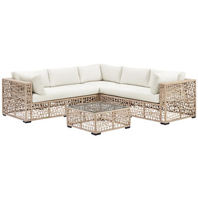 W. Trends Random Weave Box Sectional with Cushions - Natural