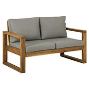 W. Trends Acacia Wood Open Side Love Seat with Cushions - Brown