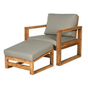 W. Trends Acacia Wood Open Side Chair and Ottoman with Cushions - Brown