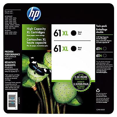 HP 61XL Black Ink Cartridges, 2 pk.