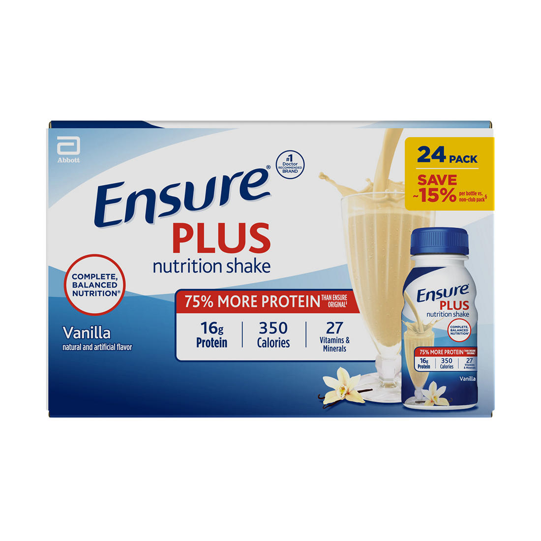 photograph about Ensure Coupons Printable titled Make certain Additionally Vanilla Nutrients Shake, 24 pk./8 fl. oz.