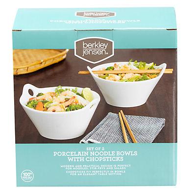 Berkley Jensen Porcelain Noodle Bowls with Chopsticks, 2 pk.