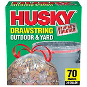 Husky 1mil Outdoor and Yard Trash Drawstring Bags, 39-gal. Capacity, 70 ct.