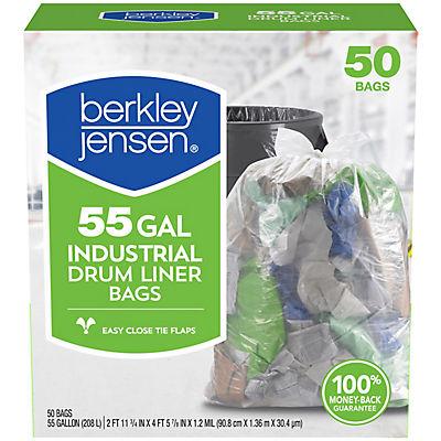 Berkley Jensen 55-Gal. 1.2mil Industrial Drum Liner Bags, 50 ct.