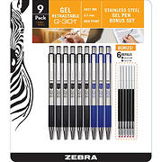 Zebra G-301 Steel Retractable Gel Pen with 0.7mm Medium Point, 9 per Pack with 6 Refills - Black
