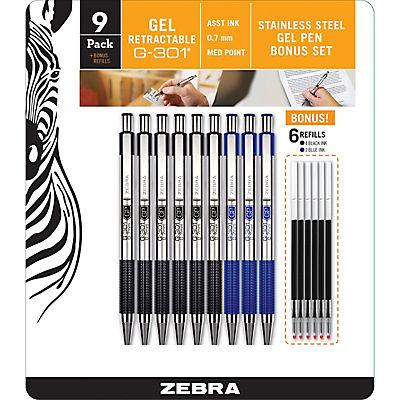 Zebra G-301 Steel Retractable Gel Pen with 0.7mm Medium Point, 9 per Pack with 6 Refills - Black