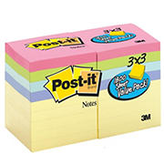 "Post-it Notes, 3"" x 3"", 100 Sheets per Pad, 18 pk. - Pastel"