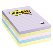 "Post-it 4"" x 6"" Notes, 5 pk./100 ct. - Pastel"