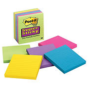 "Post-it 4"" x 4"" Ruled Super Sticky Notes, 6 pk./90 ct. - Jewel Pop"