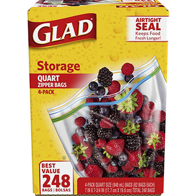 Glad 1-Qt. Plastic Zipper Storage Bags, 4 pk./62 ct. - Clear Blue